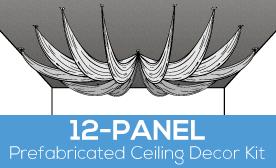 12-Panel Prefabricated Ceiling Decor Kit