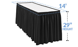 14ft Pleated Table Skirt for 29 in. High Tables (14' x 29