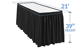 21ft Pleated Table Skirt for 39 in. High Tables (21' x 39