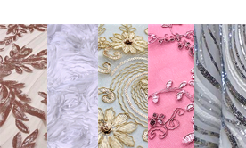 Lace / Sequin Fabrics by YARD