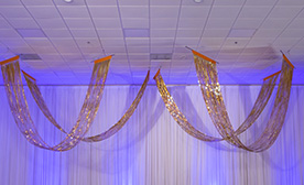 Metallic Fringe Ceiling Curtains