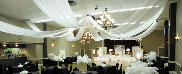 Ceiling decor wedding chandeliers event decor direct for Decor direct