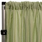 "*FR* Extra Wide Crushed Taffeta ""Tergalet"" Drape Panel by Eastern Mills 9ft Wide w/ 4"" Sewn Rod Pocket - Celery"