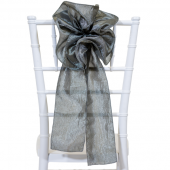 "DecoStar™ 9"" Crushed Taffeta Flower Chair Accent - Charcoal"