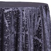 Charcoal - Damask Contemporary Velvet & Sheer Overlay by Eastern Mills - Many Size Options