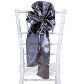 "DecoStar™ 9"" Satin Flower Chair Accent - Charcoal"