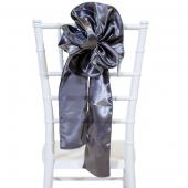 "DecoStar™ 9"" Satin Flower Chair Accent - Charcoal"