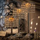 "Chrome and Acrylic Crystal Candle Holder Centerpiece Set - 7"", 9"", 11"""