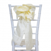 "DecoStar™ 9"" Crushed Taffeta Flower Chair Accent - Ivory"