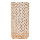 "DecoStar™ Crystal Candle Cylinder / Pillar in Soft Gold - Large  6""W x 11""H"