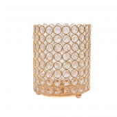 "DecoStar™ Crystal Candle Cylinder / Pillar in Soft Gold - Small  6""W x 7""H"