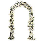 "Curved Brown Metal Ceremony Arch - 9' High x 5' 8"" Wide"