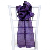 "DecoStar™ 9"" Crushed Taffeta Flower Chair Accent - Dark Purple"