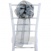 "DecoStar™ 9"" Sheer Flower Chair Accent - Dark Silver"