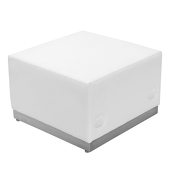 Titan Series White Leather Ottoman With Brushed Stainless Steel Base