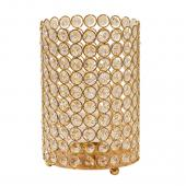"DecoStar™ Crystal Candle Cylinder / Pillar in Soft Gold - Medium  6""W x 9""H"