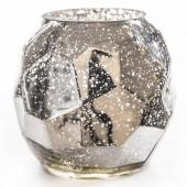 "DecoStar™ Geometric Mercury Silver Votive/Candle holder - 5.1"" Tall"