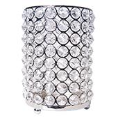 "DecoStar™ Real Crystal Candle Holder-MED w/ Chrome Finish 7""H"