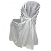 Premium Taffeta (Chameleon) Fabric Chair Cover By Eastern Mills in White - Universal Fit!