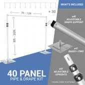 DELUXE-40 Panel Pipe and Drape Kit / Backdrop - 8-20 Feet Tall (Adjustable) Comes W/ 3 Piece Uprights for Maximum Height Adjustment