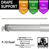 7-12ft Telescoping Drape Support w/ Button Stops at 8ft, 10ft