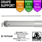 8-14ft Telescoping Drape Support w/ Button Stops at 10ft, 12ft