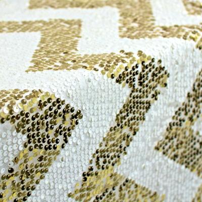 rectangle chevron 90 x 156 sequin tablecloth gold. Black Bedroom Furniture Sets. Home Design Ideas
