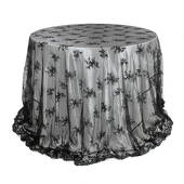 Round Black Lace Overlay - 120 Inches
