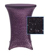 "Perfect Fit Sequin Spandex Cocktail Table Cover 30""-32"" Round - Eggplant/Plum"