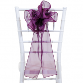 "DecoStar™ 9"" Sheer Flower Chair Accent - Eggplant"