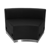 Titan Series Black Leather Concave Chair With Brushed Stainless Steel Base