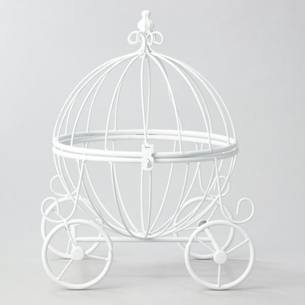 DecoStar: Metal Pumpkin Carriage - White? - 4 Pieces