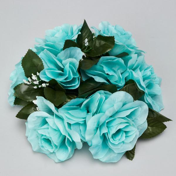 DecoStar:Large Flower Candle Rings 9'' - 48 Pieces - Aqua