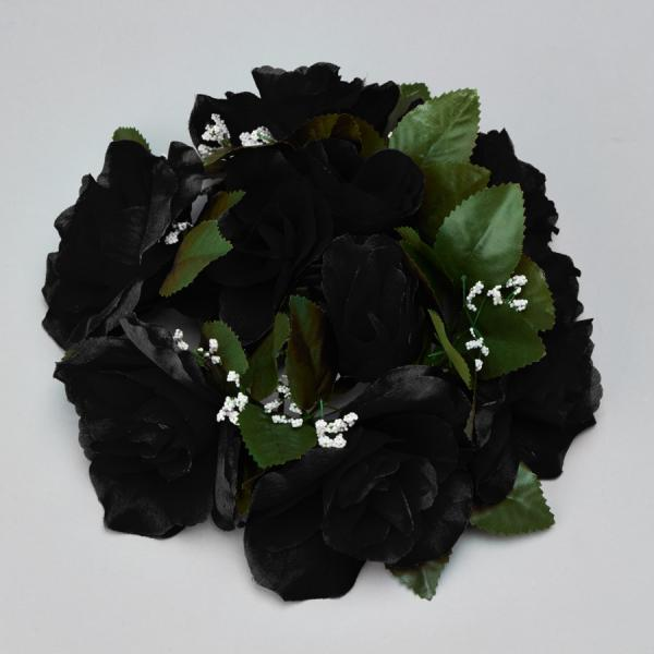 DecoStar:Large Flower Candle Rings 9'' - 48 Pieces - Black