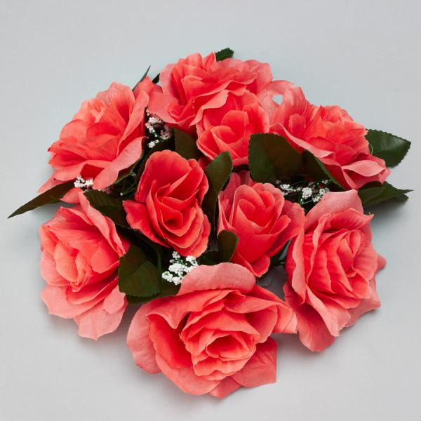 DecoStar:Large Flower Candle Rings 9'' - 48 Pieces - Coral