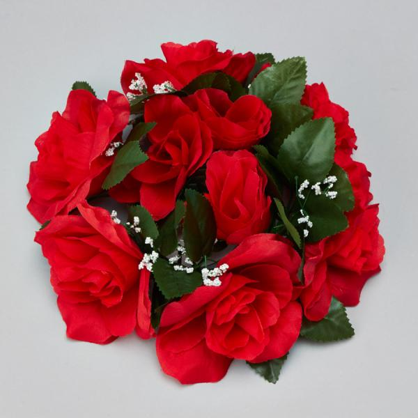 DecoStar:Large Flower Candle Rings 9'' - 48 Pieces - Red