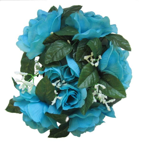 DecoStar:Large Flower Candle Rings 9'' - 48 Pieces - Turquoise