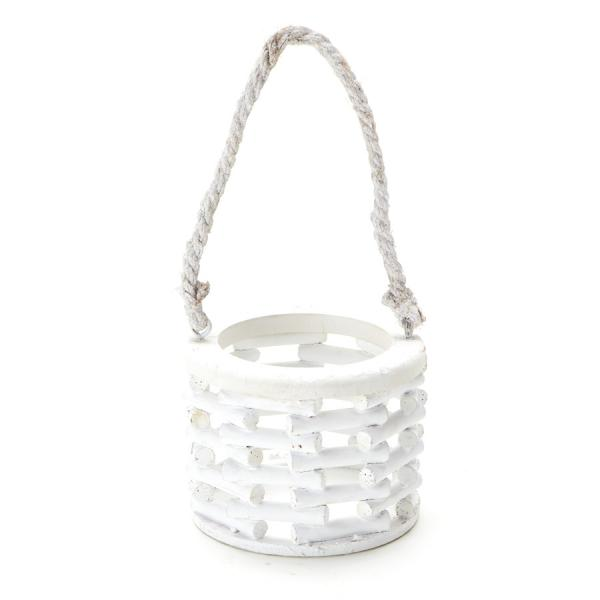 DecoStar: Wooden Basket with Rope 5? x 4?'' - White - 12 Pieces