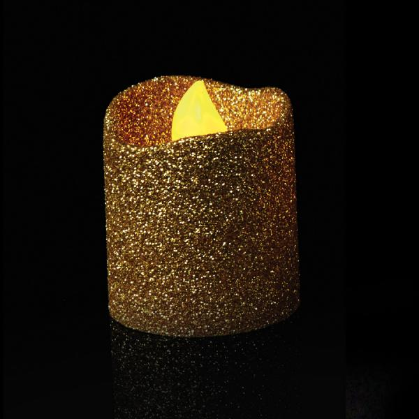 DecoStar: Gold Glitter Flameless Tealight Candles 4pc/box - 6 Boxes