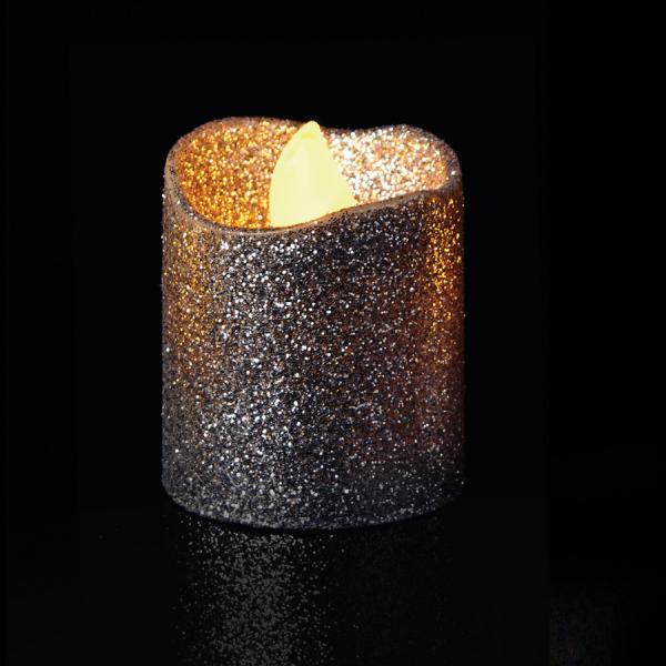 DecoStar: Silver Glitter Flameless Tealight Candles 4pc/box - 6 Boxes