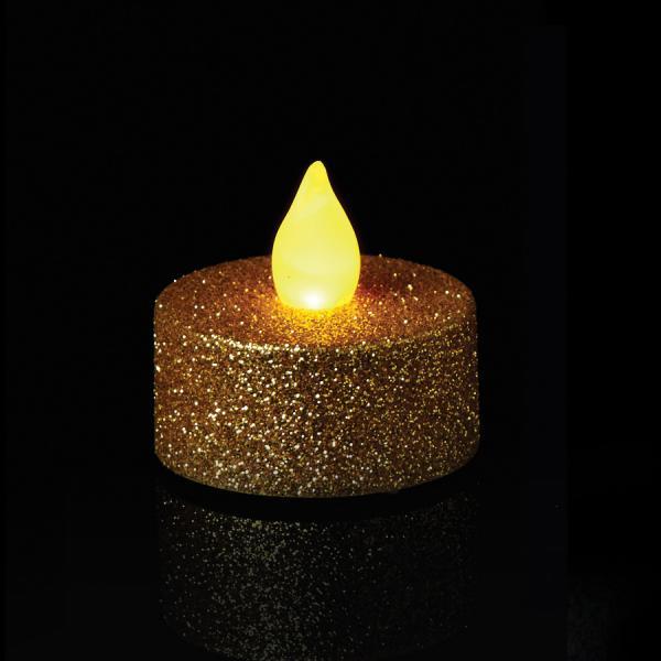 DecoStar: Gold Glitter Flameless Tealight Candles 6pc/box - 6 Boxes