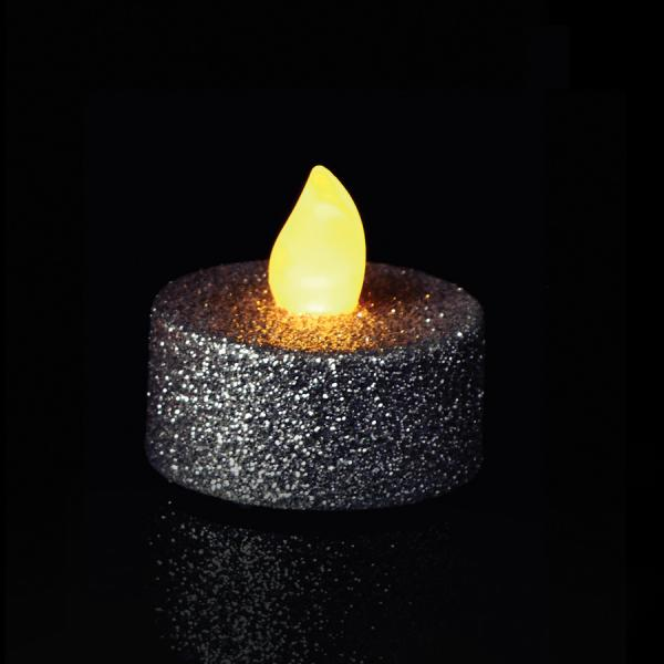 DecoStar: Silver Glitter Flameless Tealight Candles 6 pc/box - 6 Boxes