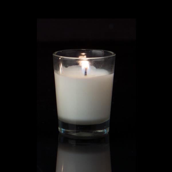 DecoStar: Unscented Poured Glass Votive Candles - 144 Pieces - 3/8'' - White