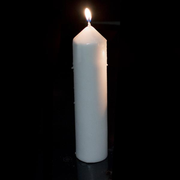 DecoStar: Dome Top Press Unscented Pillar Candle 2'' x 9'' - 12 Pieces - White