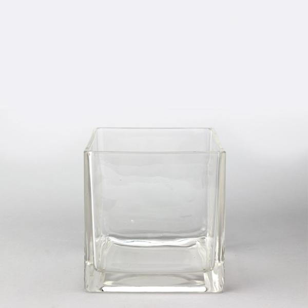 DecoStar: Glass Square Cube Vase 7'' - 6 Pieces
