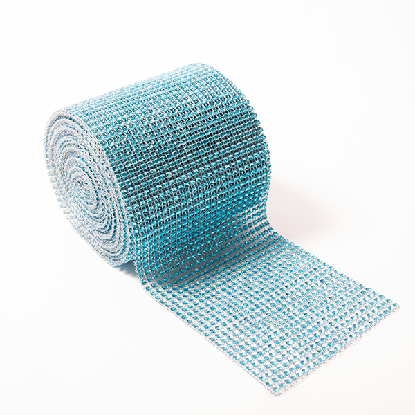 DISCONTINUED ITEM - DecoStar: Teal Rhinestone Mesh - 30 Foot Roll