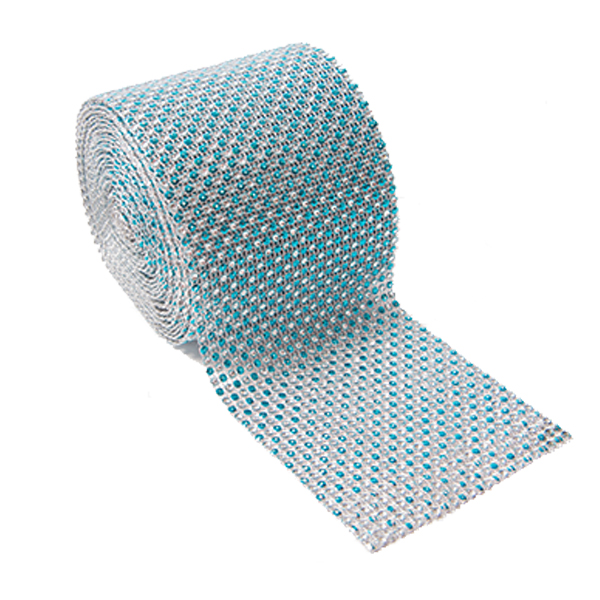 DISCONTINUED ITEM - DecoStar: Turquoise and Silver Rhinestone Mesh - 30 Foot Roll
