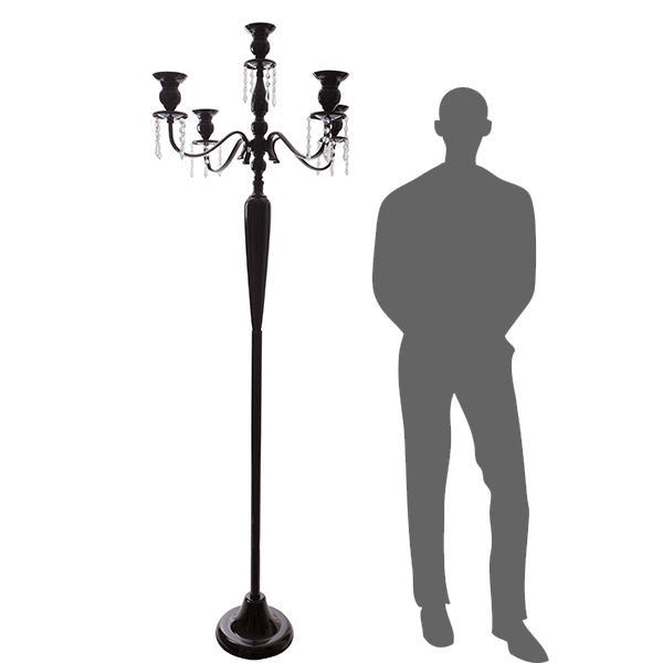 The Antiquity - MASSIVE 6ft TALL 4-Arm Candelabra - Black - by DecoStar: