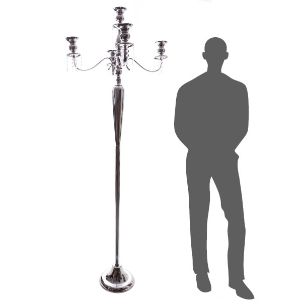 The Antiquity - MASSIVE 6ft TALL 4-Arm Candelabra - Chrome - by DecoStar: