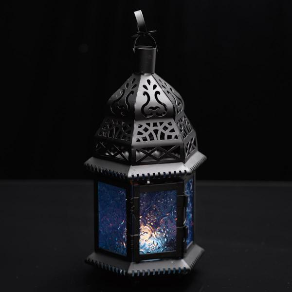 Moroccan Hanging Metal Lantern - Blue Embossed Glass